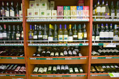 Well stocked wine shelf in grocery store in Zululand South Africa Stock Images