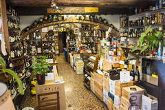 Well Stocked wine shop in Genoa Italy Stock Images