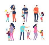 Well studied kids. Excellent pupils, praising parents and teachers. Students, school children, adult people vector stock illustration