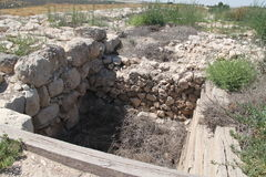 Well at Tel Lachish. Tel Lachish Palace`s Water Well Stock Photos