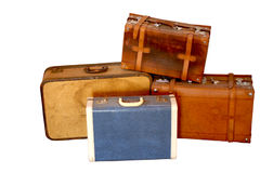 Well-traveled Vintage Suitcase. Royalty Free Stock Image