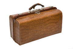 Well-traveled vintage suitcase. Old well-traveled vintage suitcase Royalty Free Stock Image