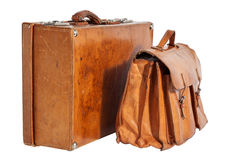 Well-Traveled Vintage Suitcase and Briefcase Royalty Free Stock Image