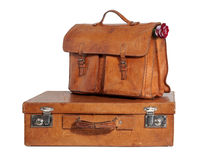 Well-Traveled Vintage Suitcase and Briefcase Royalty Free Stock Photos