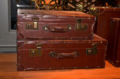Well-Traveled Vintage Suitcase. Leather is easy to carry Made of genuine leather most durable Stock Photo