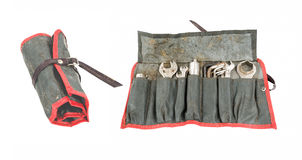 Well used Antique Motorcycle tool roll with tools (two views). Stock Photography
