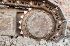 Well used excavator tracks closeup Stock Photo