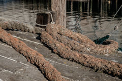 Well used industrial hawser rope used to tie down large lobster Royalty Free Stock Photography