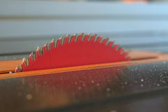 Well used saw blade. Saw blade with wood pitch and debris on blade Stock Image