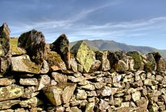 Drystone Wall with Diamond Shaped Top Stone stock photography