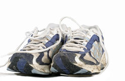 Well Worn. Runners on white background Royalty Free Stock Photo