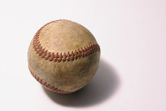 Well worn Baseball. A well worn and used baseball on white Stock Image
