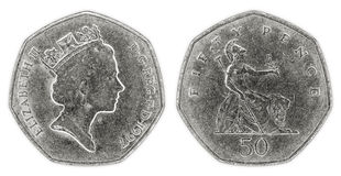 A well worn fifty pence coin with Queen Elizabeth II Royalty Free Stock Photo