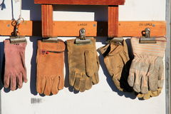 Well-worn heavy leather work gloves Royalty Free Stock Photo