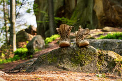 Well-worn hiking boots, unlaced and muddy on the forest floor. Tourism concept. Stock Photos