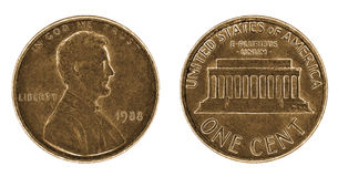 A well worn one cent coin with Lincoln Royalty Free Stock Image