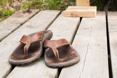 Well worn sandals Royalty Free Stock Images