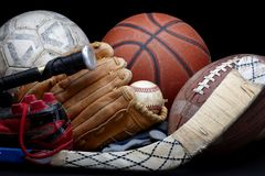 Well worn sports equipment Royalty Free Stock Photo