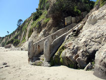 Well worn staircase in the side of mountain leading to the beach. In Santa Barbara, California Royalty Free Stock Photo