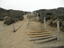 Well worn wooden rope staircase in the side of sand dune with pl Royalty Free Stock Image