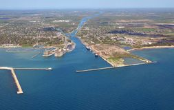 Welland Canal entrance West. Aerial view of the West entrance of the Welland canal seen from Lake Erie, Ontario Canada Stock Images