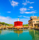 Welland Canal. This is the first set of locks situated on the Ontario entrance of the WELLAND Canal Royalty Free Stock Photo