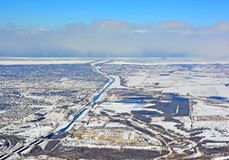 Welland Canal Winter aerial. Aerial view along the Welland Canal in Southern Ontario Canada; Winter scene Royalty Free Stock Photo