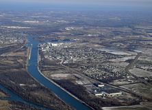 Welland Canal Winter aerial. Aerial view of an industrial area along the Welland Canal, near Thorold Ontario Canada Stock Photography