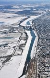 Welland-Kanal Winterantenne Lizenzfreie Stockfotografie
