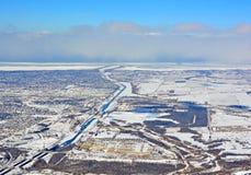 Welland zimy kanałowa antena zdjęcie royalty free