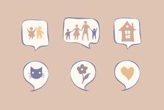 Wellbeing icons in speech bubbles, cartoon style vector illustrations. Simply editable Royalty Free Stock Photo