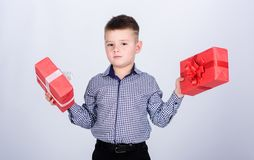 Wellbeing and positive emotions. Celebrate new year valentines day. Birthday gift. Birthday boy. Buy gifts. Child little. Boy hold gift box. Christmas or royalty free stock photography