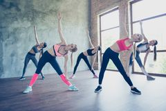 Wellbeing, stretching and health concept. Five pretty young slim. Ladies are training at modern studio, wearing fashionable sport wear, sneakers, smiling Royalty Free Stock Photo