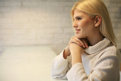 Wellbeing woman. Space for copy. Beautiful pensive woman looking away. Space for copy Royalty Free Stock Photos