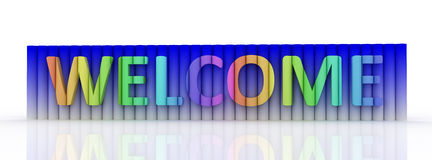 Wellcome. Welcome word from cylinders. 3D high resolution render Stock Images