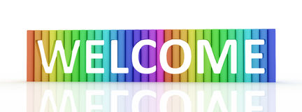 Wellcome. Welcome word from cylinders. 3D high resolution render Royalty Free Stock Photo
