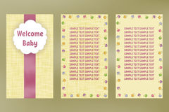 Wellcome baby. Greeting card birthday. Vector postcard with ribbon. Stock Photos