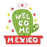 Wellcome Mexico. Cute cartoon lettering. Flat illustration isolate on white background. Royalty Free Stock Photos