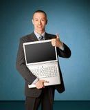 welldone выставок компьтер-книжки бизнесмена открытое Стоковая Фотография