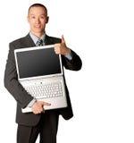 welldone выставок компьтер-книжки бизнесмена открытое Стоковые Фотографии RF