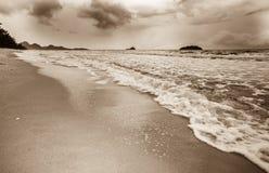 Welle auf dem Sandstrand Sepiaton Stockbilder