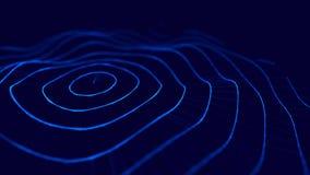 Welle 3d Welle von Partikeln gl?hender abstrakter digitaler Hintergrund der Partikel 3D Datentechnologieillustration Gro?e Datens lizenzfreie abbildung