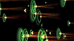 Welle der Kräuselung 4k, Erschütterungsrhythmus-Partikelenergie, Neonfeuerwerke, Pfeil, der Ziel schlägt stock abbildung