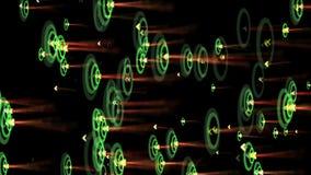 Welle der Kräuselung 4k, Erschütterungsrhythmus-Partikelenergie, Neonfeuerwerke, Pfeil, der Ziel schlägt lizenzfreie abbildung