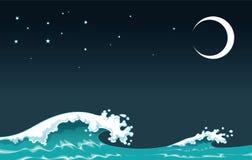 Welle in der Nacht Lizenzfreie Stockfotos