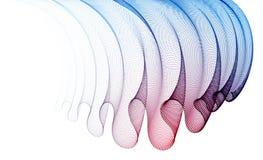 Welle des flüssigen abstrakten Vektorhintergrundes der Partikel, transparentes Tulle-Gewebe der glatten curvy Formpunkte auf Wind vektor abbildung