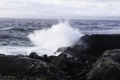 Welle, die an den Felsen zerquetscht Lizenzfreies Stockbild