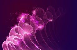 Welle von flüssigen Partikeln über dunklem abstraktem Vektormagiehintergrund, transparentes Tulle-Gewebe der glatten curvy Formpu stock abbildung