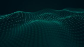 Welle von verschachtelnden Punkten und von Linien entziehen Sie Hintergrund Technologische Art Gro?e Daten Wiedergabe 3d stock abbildung