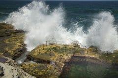 Wellen, die über dem Geländer zum Blockwagen-Loch zusammenstoßen Lizenzfreie Stockfotos
